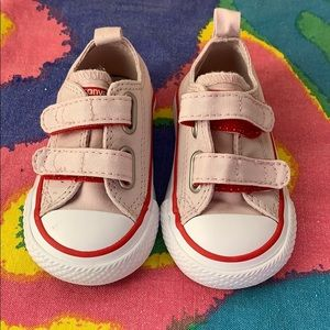 Converse strawberry pink & red Velcro sneakers